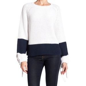 360 Sweater Small White Lilah Colorblock Sweater